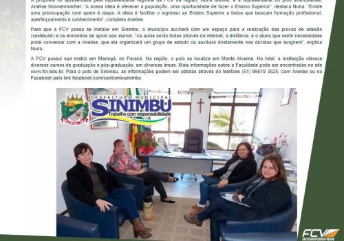 FCV e unidade de Sinimbu em notícia da prefeitura local